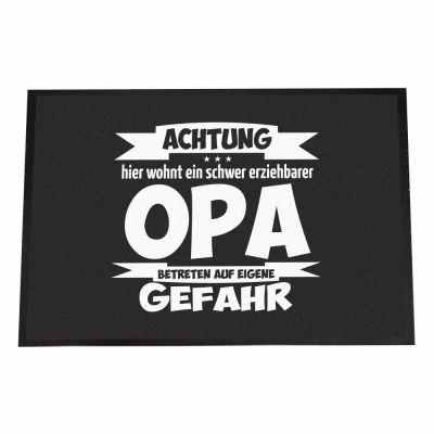 """Fußmatte """"Achtung! Hier wohnt ein schwer erziehbarer Opa - Betreten auf eigene Gefahr"""""""