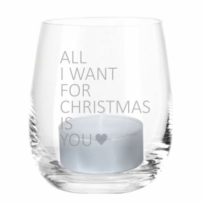 """Windlicht """"All I Want for Christmas is You"""" (Motiv: ein Herz)"""