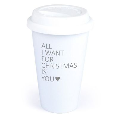 """Coffee-to-go Becher """"All I want for christmas is you"""" (Motiv: ein Herz)"""