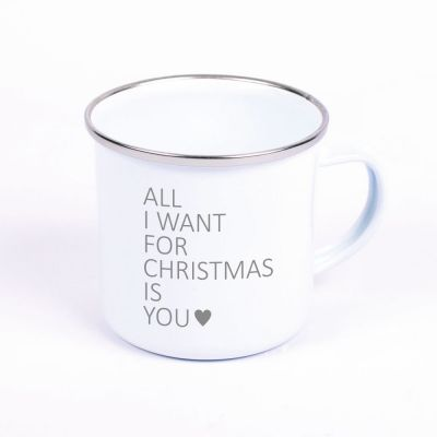 """Metalltasse Emaille Look """"All I want for christmas is you"""" (Motiv: ein Herz)"""