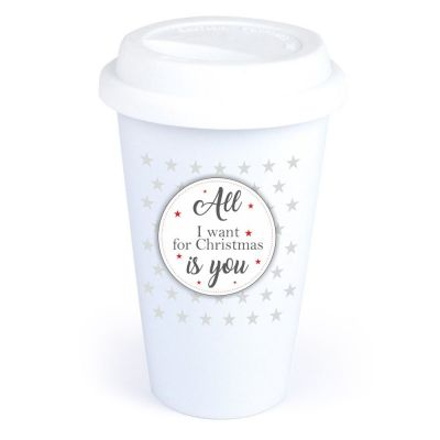 """Coffee-to-go Becher """"All I want for christmas is you"""" (Motiv: Kreis mit kleinen Sternen)"""