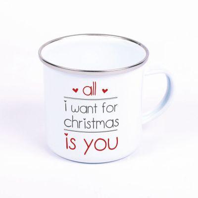"Metalltasse Emaille Look ""All I want for christmas is you"" (Motiv: zwei Herzen)"