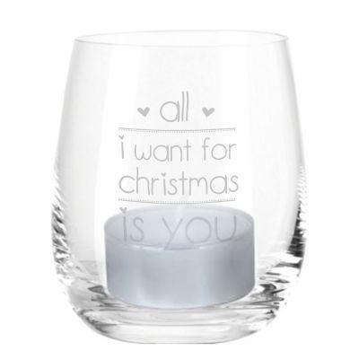 "Windlicht ""All I Want for Christmas is You"" (Motiv: zwei Herzen)"