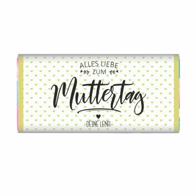 """Personalisierte Schokolade """"Alles Liebe zum Muttertag!"""" (grüne Herzen)"""