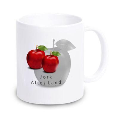 """weiße Tasse """"Jork - Altes Land"""" mit Äpfeln"""