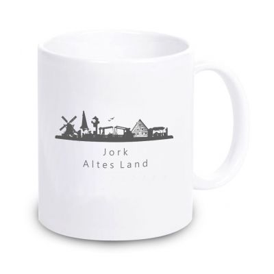 """weiße Tasse """"Jork - Altes Land"""""""