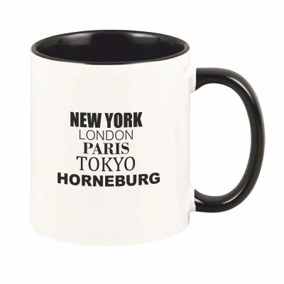 """schwarze Tasse """"New York, London, Paris, Tokyo, Horneburg oder Jork"""""""