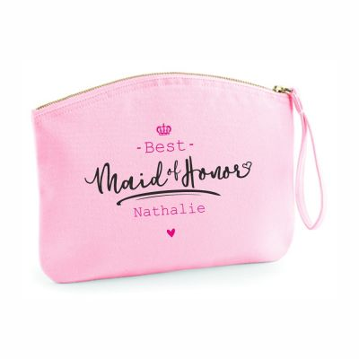 "Personalisierte Kulturtasche ""Best Maid of Honor"" - rosa"