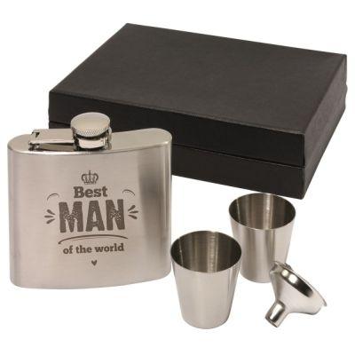 "Flachmann Set ""Best Man of the World"" (Krone)"