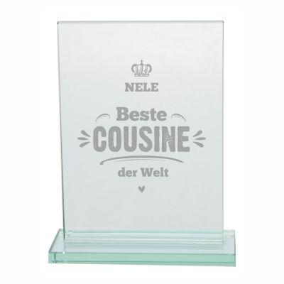 """Glaspokal """"Beste Cousine der Welt"""" - personalisiert"""