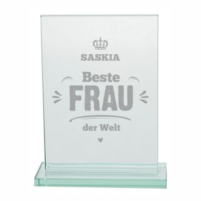 """Glaspokal """"Beste Frau der Welt"""" - personalisiert"""