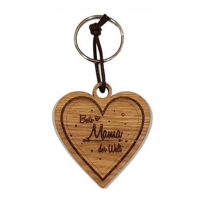 Schlüsselanhänger aus Holz für die beste Mama (Herz)