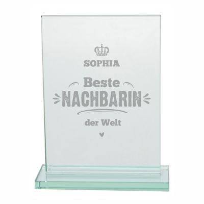 """Glaspokal """"Beste Nachbarin der Welt"""" - personalisiert"""