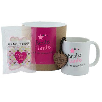 """Geschenkset """"Beste Tante auf der ganzen Welt"""" (Tasse, Schlüsselanhänger & """"Hab Dich lieb"""" Herzen)"""