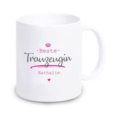 """Weiße Tasse """"Beste Trauzeugin"""" mit Personalisierung"""