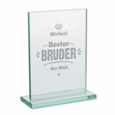 """Glaspokal """"Bester Bruder der Welt"""" - personalisiert"""