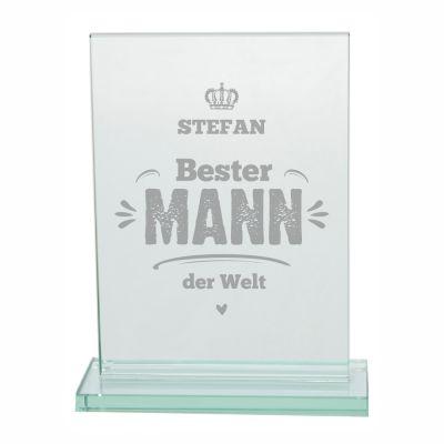 """Glaspokal """"Bester Mann der Welt"""" - personalisiert"""