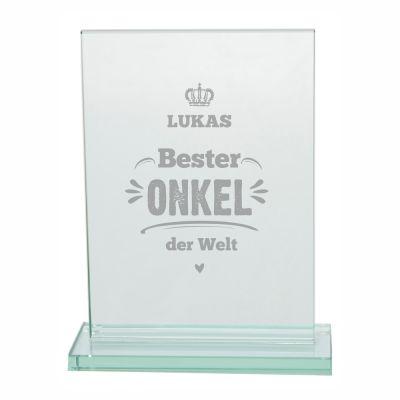 "Glaspokal ""Bester Onkel der Welt"" - personalisiert"