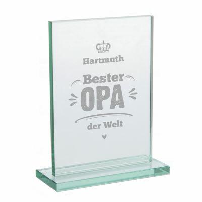 "Glaspokal ""Bester Opa der Welt"" - personalisiert"