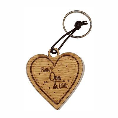 Schlüsselanhänger aus Holz für den besten Opa (Herz)