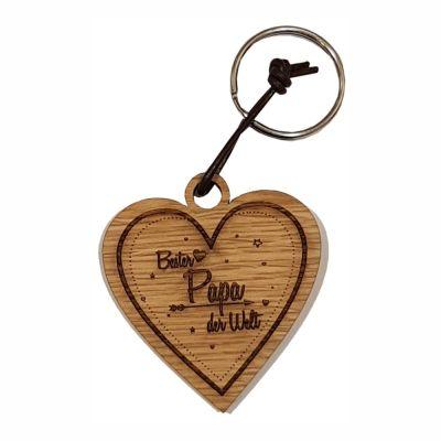 Schlüsselanhänger aus Holz für den besten Papa (Herz)