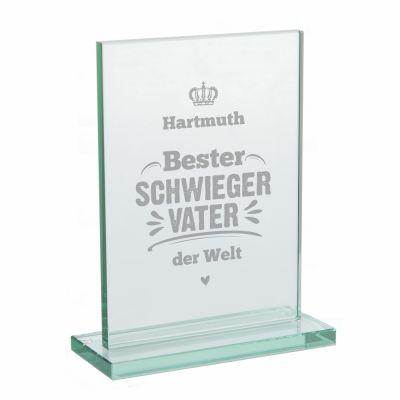 """Glaspokal """"Bester Schwiegervater der Welt"""" - personalisiert"""
