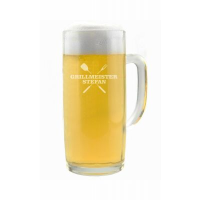 """Personalisierter Bierkrug """"Grillmeister"""" mit Name - in verschiedenen Größen"""