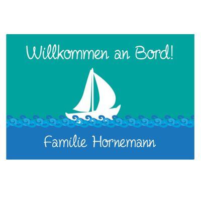 """Fußmatte """"Boot"""" - personalisiert (Farbe: blau, blau/grün oder blau/pink)"""