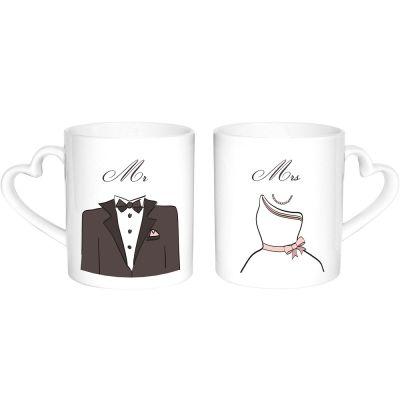 "Herz-Tassen ""Braut & Bräutigam"""