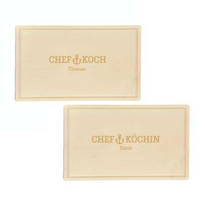 """Schneidebrett """"Chefkoch oder Chefköchin"""" - personalisiert (rechteckig)"""