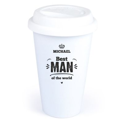 """Personalisierter Coffee-to-go Becher """"Best Man of the World"""""""