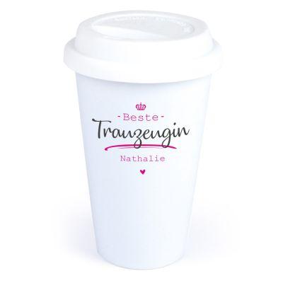 """Personalisierter Coffee-to-go Becher """"Beste Trauzeugin"""""""