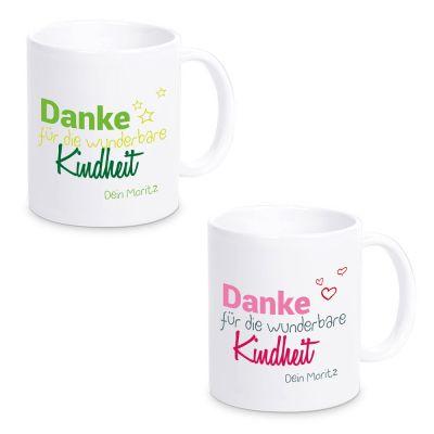 """Tasse """"Danke für die wunderbare Kindheit"""" mit Namen (Design: grün oder pink)"""
