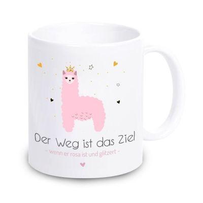 """Tasse """"Der Weg ist das Ziel - wenn er rosa ist und glitzert"""" (Farbe: weiß oder rosa)"""
