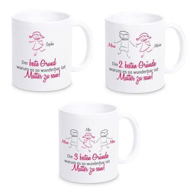 """Tasse """"Die besten Gründe, warum es so wundervoll ist Mutter zu sein!"""" - personalisiert"""