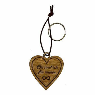 """Schlüsselanhänger aus Holz """"Du und ich für immer"""" (Herz)"""