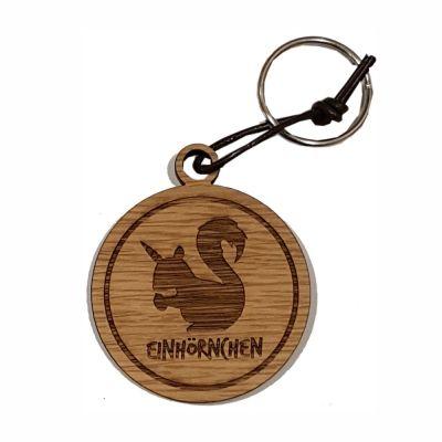 """Schlüsselanhänger aus Holz """"Einhörnchen"""" (rund)"""