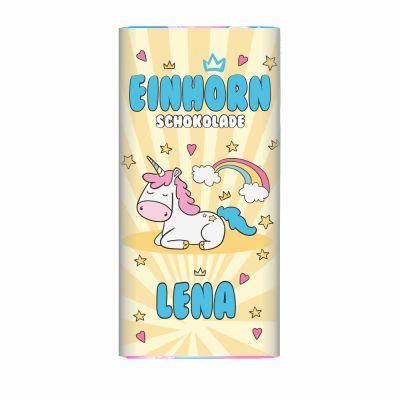 Personalisierte Einhorn Schokolade