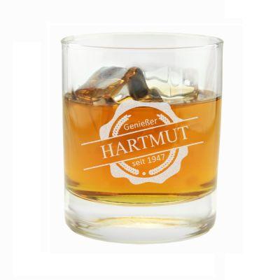 """Whiskyglas """"Emblem: Genießer seit"""" - personalisiert"""