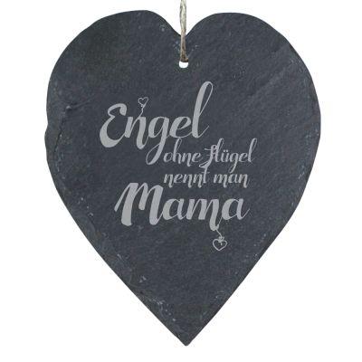 "Schieferherz ""Engel ohne Flügel nennt man Mama"" (23x27cm)"