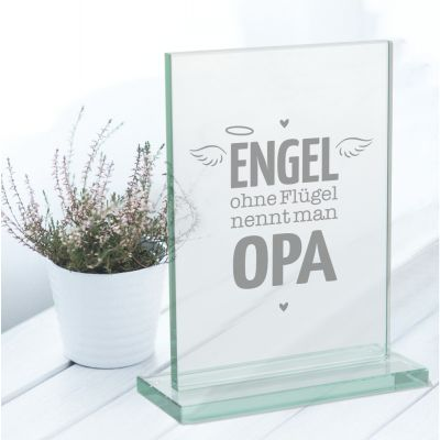 """Glaspokal """"Engel ohne Flügel nennt man Opa"""""""