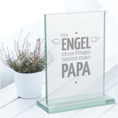 "Glaspokal ""Engel ohne Flügel nennt man Papa"""
