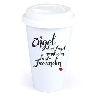 """Coffee-to-go Becher """"Engel ohne Flügel nennt man beste Freundin"""""""