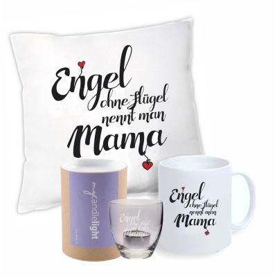 """Geschenkset """"Engel ohne Flügel nennt man Mama"""" (Kissen, Tasse & Windlicht in Geschenkbox)"""
