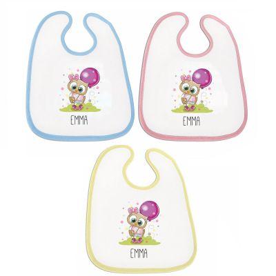 """Lätzchen """"Eule"""" - personalisiert (Farbe: rosa, blau oder gelb)"""