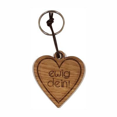 """Schlüsselanhänger aus Holz """"Ewig Dein!"""" (Herz)"""