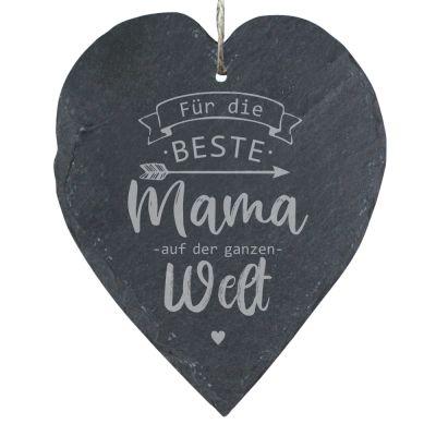 """Schieferherz """"Für die beste Mama auf der ganzen Welt"""" (23x27cm)"""