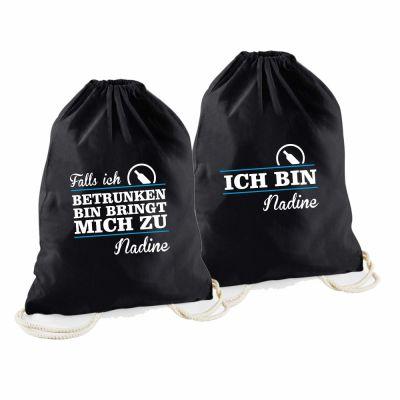 """Statement-Tragebeutel 2er Set (schwarz) """"Falls ich betrunken bin"""""""