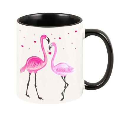"""Tasse """"Flamingopärchen & Herzen"""" (Farbe: weiß, rosa oder schwarz)"""