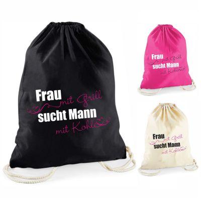 """Statement-Turnbeutel """"Frau mit Grill sucht Mann mit Kohle"""""""